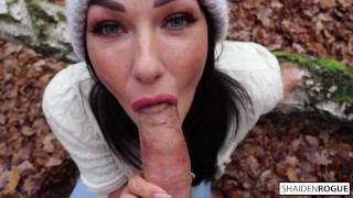 Freckled Teen SUCKS & SWALLOWS in the Woods - Shaiden Rogue