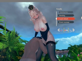 AI Syoujyo [Hentai Game] Ep.5 Bowsette cosplay fucking on the beach