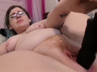 Brass knuckle dildo in my redheaded pussy