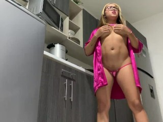 Touch my pussy for you at the hostel kitchen