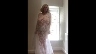 Annabel's white sheer lace dress
