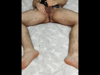 Chubby guy with underwear fetish teasing his hole