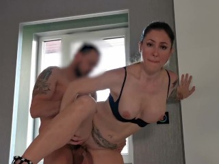 My naughty girlfriend loves to have sex in the front of the window.