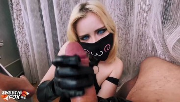 Babe in Mask Handjob and Deep Blowjob Cock - Cum in Mouth