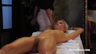 DoA 2: Lesbian Blonde In Handcuffs Massaged By Dominant Maid