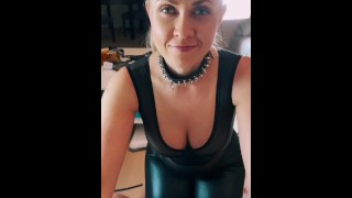 Milf sucks and swallow in POV in catsuit