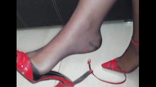 Pantyhose legs and feet tease, sexy nylon feet, footfetish