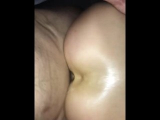 Anal creampie. Bitch on period fucked & creamed in the ass.