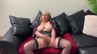 Mature British Blonde shows off her tits and Pussy then fingers herself