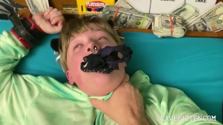 FTM BDSM sex slave Bondage & Leash, Panties in Mouth, Pierced Pussy Squirts