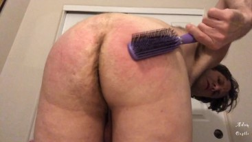 Hairy Stud Spanks Own Ass With Hair Brush JOI