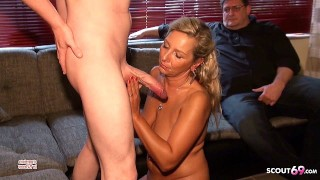 Cuckold Must Watch While Monster Cock Boy Fuck his Wife