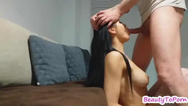 Rough deep throat fuck, oral creampie