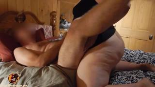 BBW pegging boyfriend hard on bed