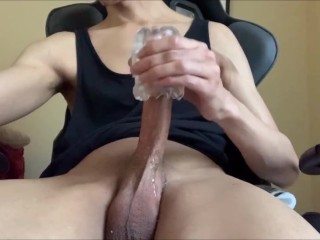COCK MILKING WHILE WATCHING PORN