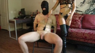 Dominatrix Ties man and uses as Sex Slave