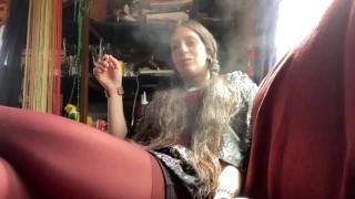 Smoking Hipster in Pantyhose