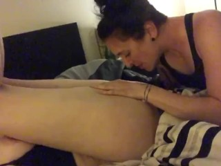 Real lesbian, my friend eating my pussy, while he'a gone