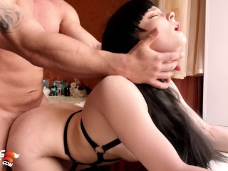 Hot Brunette Deep Sucking and Sensual Fucking for Money