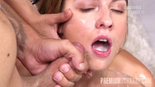 Premium Bukkake - Rebecca Volpetti swallows 115 huge mouthful cum loads