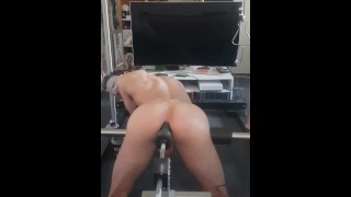 Hardcore anal fucking, doggy anal gaping porn with fucking machine