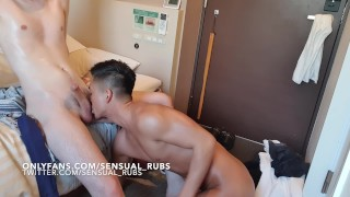 sexy Japanese pornstar takes shower and fucks young twink bareback raw