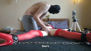 Chained up slave fingered, rough fucked and made to cum