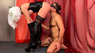 Mistress Femdom Ass Worship and boots footjob! Lick my ass and cum on boots