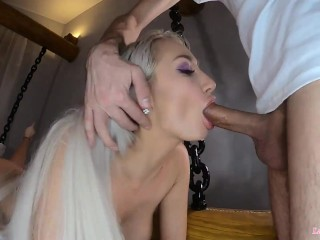 Stunning Blonde Hardcore Facefuck and Cum in Mouth – Closeup