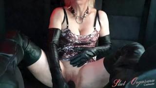 Whore Slut-Orgasma Celeste is masturbating in a car