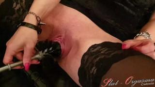 Whore Slut-Orgasma Celeste fucking toilet brush squirting