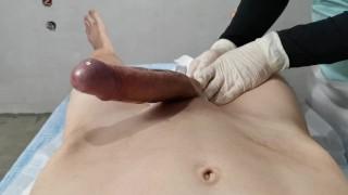 Handjob after Brazilian waxing - Dick wax depilation masturbate