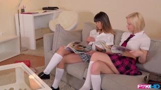 Naughty schoolgirls Zazie Skymm and Mona Kim gets a lesson in hardcore anal