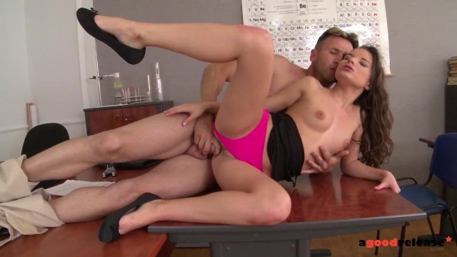 College babe Anita Berlusconi ass fucked by teacher and gets anal creampie