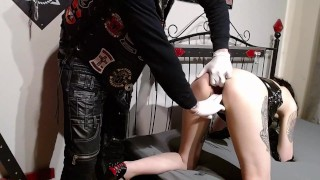 Corona infected girl is fisted and fucked by members of a biker gang