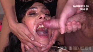 Premium Bukkake - Ashley Ocean swallows 32 huge mouthful cum loads