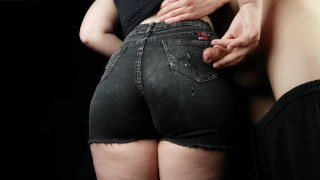 PERFECT FIT BIG ASS in jeans shorts HANDJOB #3