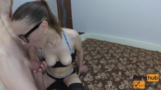 Busty College Girl Blowjob and Gets Facial