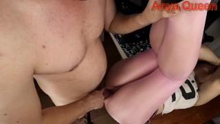 Dirty Schoolgirl in pink tights was fucked in various poses - Anya Queen
