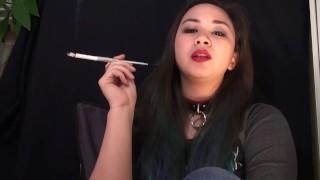 Smoking Fetish Asian Girl in Slave Collar
