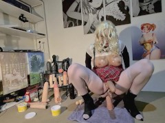 Plastic shemale whore in chastity rides huge dildos