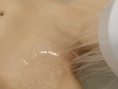 pretty girl getting her clit sprayed in the shower | loud moaning orgasm