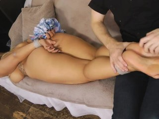 Beth naked and barefeet tickled