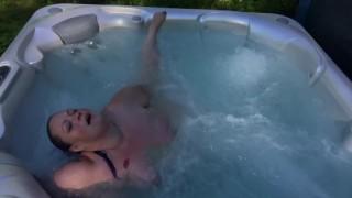 BBW Hottub outside with big belly Wildchyld - Ssbbw plump floating belly