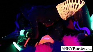 black light rainy night with abigal mac & ava addams! – teen porn