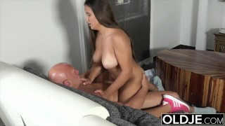 Old and young sex starts sensual and ends with hot cumshot