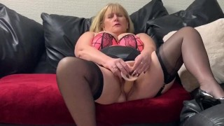 Mature, Big Tit Slut rams her pussy with thick Dildo