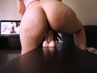 BABE RIDED HER DILDO DREAMING ABOUT THE BIG BLACK COCK