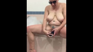 Hot tub,hard fuck dido and then finish with a real squirting cum!