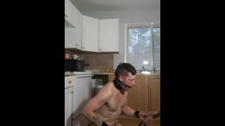 Defiant Sub in chastity is ordered to restrain and discipline himself